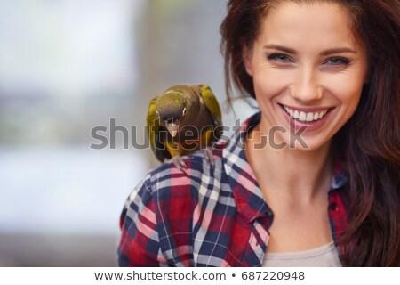 Grijs vogel blij gezicht illustratie kunst tropische Stockfoto © bluering