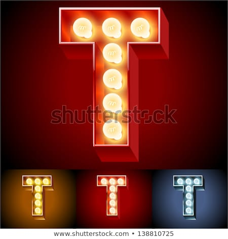 Letter T lamp glowing font. Vintage light bulb alphabet. Retro A Stock photo © popaukropa