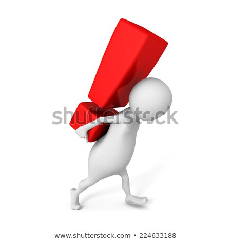 3d small people   carries an exclamation mark stock photo © anatolym