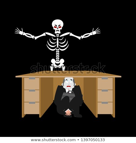 Businessman scared under table of skeleton. frightened business  Stock photo © popaukropa