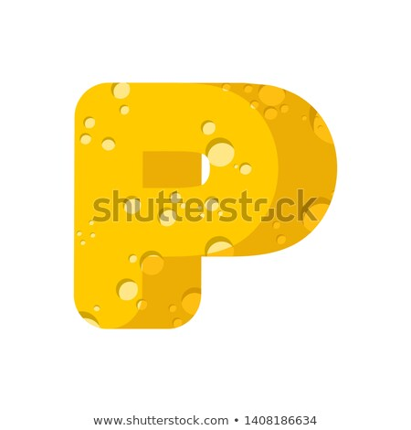 Letter P cheese font. Symbol of cheesy alphabet. Dairy Food type Stock photo © popaukropa