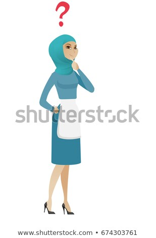 Young muslim thinking cleaner with question mark. Stock photo © RAStudio