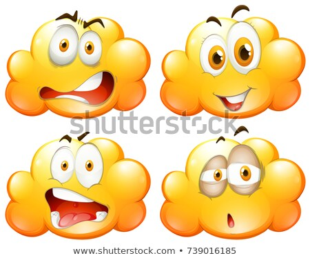 Yellow fluffy clouds with facial expressions Stock photo © bluering