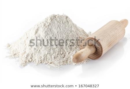 Tarwe meel deegrol houten witte Stockfoto © Digifoodstock