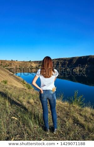 女性 立って 湖 旅行 色 ヨーロッパ ストックフォト © IS2