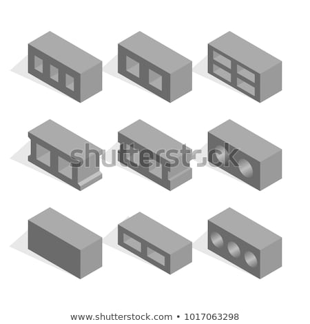 Set of isometric cinder blocks, vector illustration. stock photo © kup1984