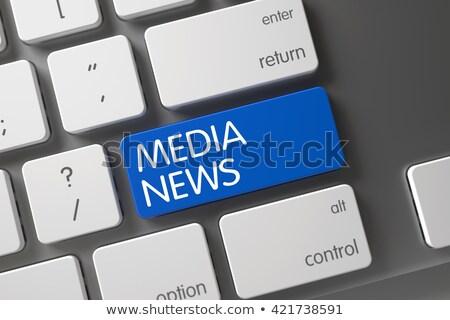 keyboard with blue keypad   media news stock photo © tashatuvango