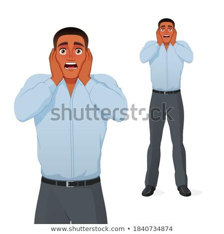 terrified man holding his head, panic face Stock photo © studiostoks