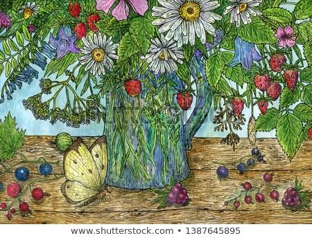 berries of garden strawberry in a glass vase Stock photo © Valeriy