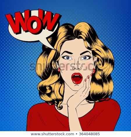 Pop art vrouw wow retro gezicht Stockfoto © studiostoks