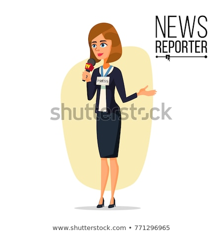 television reporter vector reporter girl tv transmission with a reporter flat cartoon illustratio stock photo © pikepicture
