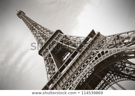 Wieża Eiffla sepia metal Paryż Francja niebo Zdjęcia stock © Givaga