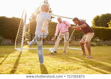 Großvater Kinder Fußball Mann Garten Porträt Stock foto © IS2