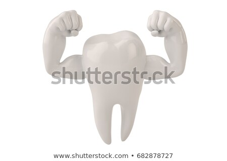 Stock foto: Maskottchen · Zahn · starken · Illustration · Gesundheit · Kunst