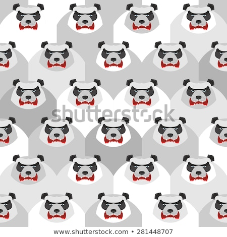 Angry Panda. Seamless vector pattern of ferocious bears. Vector  Stock photo © popaukropa