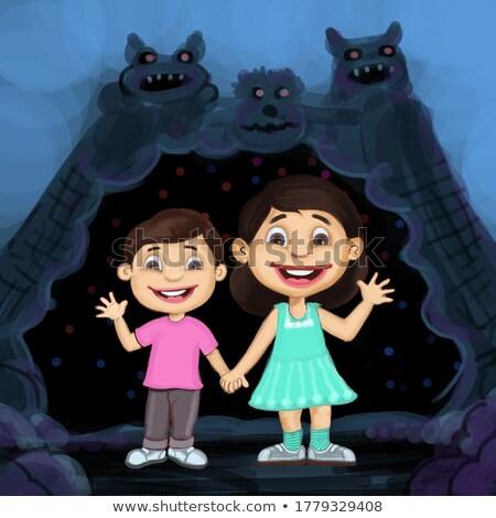 Boldog gyerekek barlang illusztráció gyermek tájkép Stock fotó © bluering
