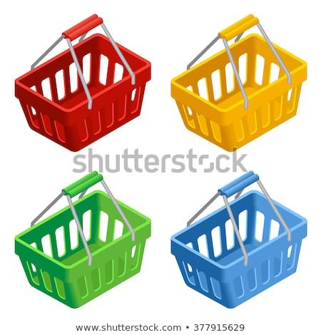 Empty plastic shopping basket isometric 3D icon Stock photo © studioworkstock