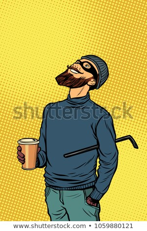 Soyguncu hırsız hacker içecekler kahve Stok fotoğraf © studiostoks