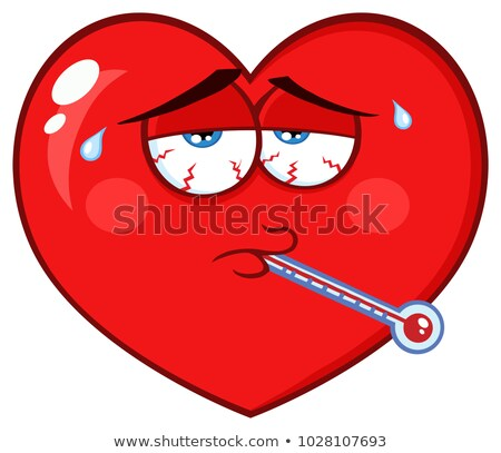 Sick Red Heart Cartoon Emoji Face Character With Tired Expression And Thermometer Stock photo © hittoon