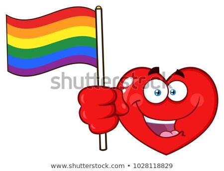 Felice rosso cuore cartoon faccia carattere Foto d'archivio © hittoon