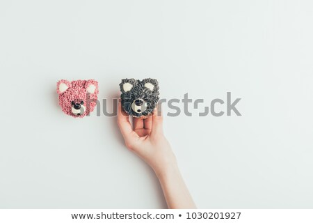 Felső kilátás kéz finom muffinok forma Stock fotó © LightFieldStudios