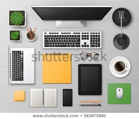 Felső kilátás illusztráció asztali számítógép izolált fehér Stock fotó © Sonya_illustrations