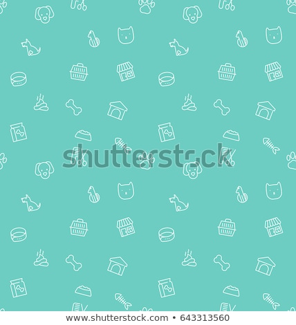 Pet Shop White Line Seamless Pattern Stock photo © Anna_leni