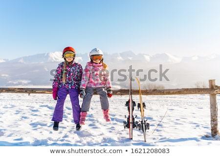 Kızlar kayakçılık kız çocuk kar kış Stok fotoğraf © IS2