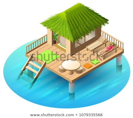 Tropical bungalow on water and woman lies in deckchair Stock photo © orensila