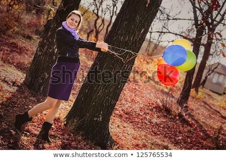 Stockfoto: Jonge · zwangere · vrouw · ballonnen · najaar · park · mooie