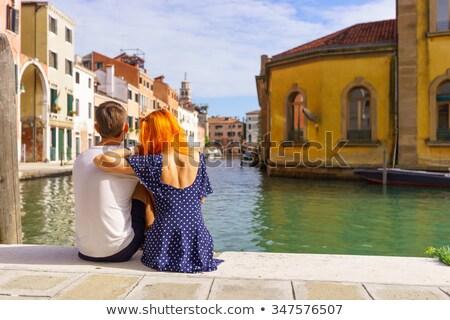 ヴェネツィア カップル 座って 戻る ストックフォト © IS2
