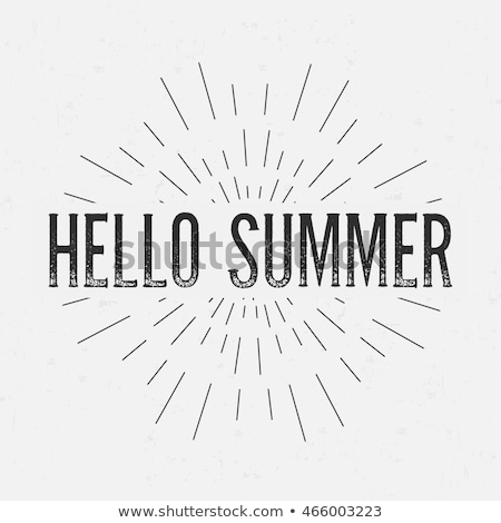 hello summer lettering with sunbursts vector background stock photo © m_pavlov
