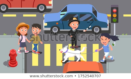 A Boy Crossing Street with Dog Stock photo © bluering