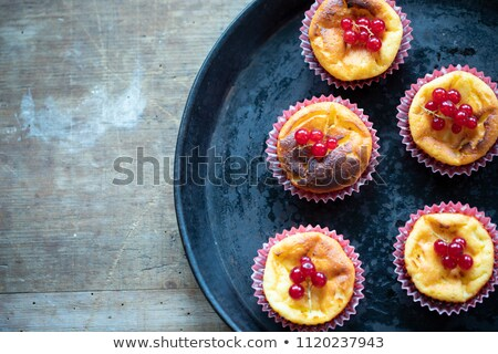 Stock photo: Ricotta mini cheesecake with fresh raspberries