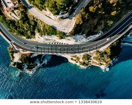 Drogowego widok z góry samochody rzeki widok z lotu ptaka Zdjęcia stock © joyr