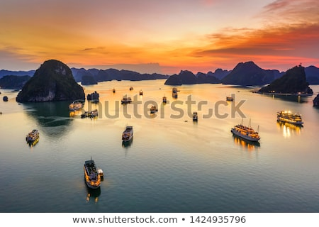 Vietnam zonsondergang lang rotsen horizon landschap Stockfoto © romitasromala