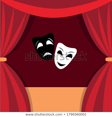 theatrical scene with red curtains and reflection stock vector illustration stock photo © olehsvetiukha