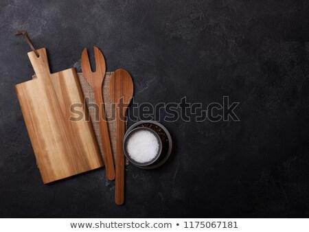 Klasszikus fából készült vágódeszka törölköző felső fekete Stock fotó © DenisMArt