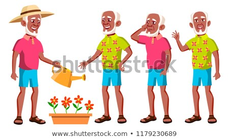 old man poses set vector black afro american elderly people senior person aged beautiful retir stock photo © pikepicture
