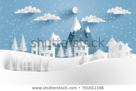urban winter landscape   vector paper cut illustration stock photo © decorwithme