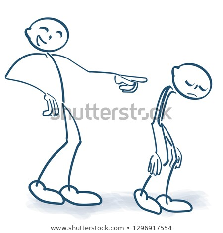 Stick figure laughs at someone and sends him away Stock photo © Ustofre9