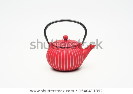 Stock photo: Traditional eastern metal teapot and iron cups