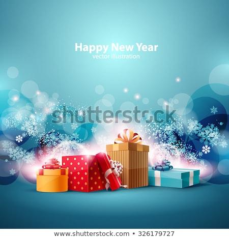karácsony · ajándékdobozok · ébresztőóra · fenyőfa · ág · fedett - stock fotó © karandaev