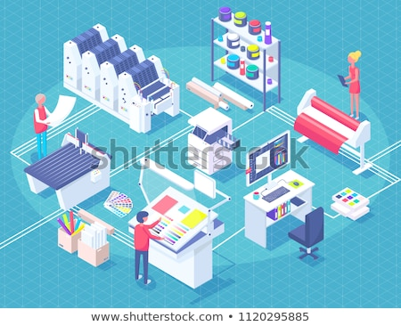 Printing House Isometric Polygraphy Composition Stock photo © robuart
