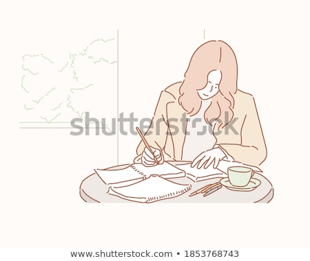 Lady Working by Wooden Tables Vector Illustration Stock photo © robuart