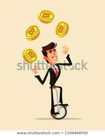 Currency Exchange, Manager Juggles Currency Signs Vector. Isolated Illustration Stock photo © pikepicture