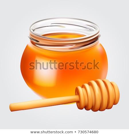 Smaczny miodu szkła jar realistyczny ikona Zdjęcia stock © MarySan