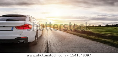 автомобилей шоссе закат мелкий цвета Сток-фото © lightpoet