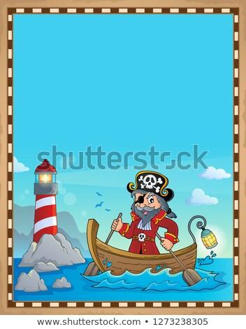 pirata · buque · silueta · mar · negro · retro - foto stock © clairev