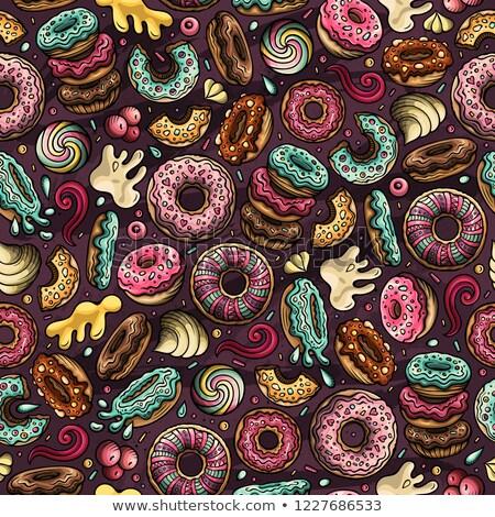 Cartoon hand-drawn donuts seamless pattern. Perfect funny vector background. Stock photo © balabolka